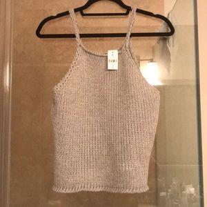 LF Tops - LF Grey Crochet Sweater Tank